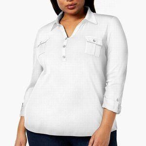 Women's Split Neck Pocket Pullover 3/4 Sleeves Top